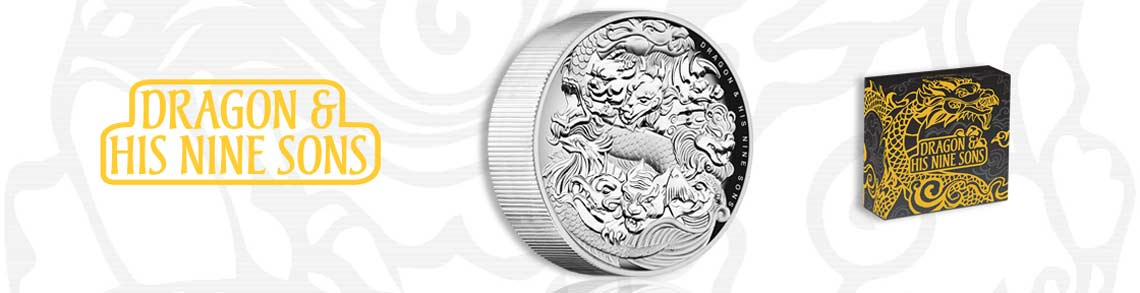 Dragon and Nine Sons 5oz Silver