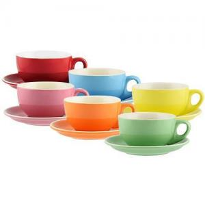 6 Pack of Bright Coloured Rockingham 220mL Cappuccino Cup and Saucer