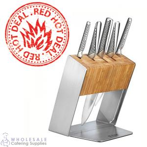 Global Knife Block Bamboo Katana 6 Piece Set