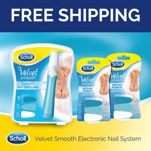 Scholl Velvet Smooth Electronic Nail Care System Value Pack with 2 Refills