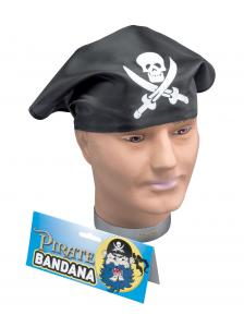 Black-Pirate-Buccaneer-Fancy-Dress-Head-Scarf-Skull-Crossbone-Bandana-BA146