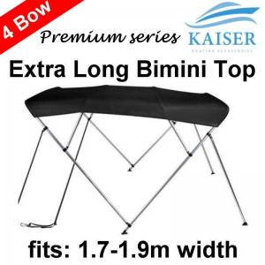 240cm Extra Long 4 Bow 1 7m-1 9m Boat Bimini Top Canopy Cover 130cm height Black