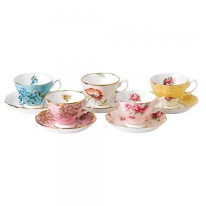 Royal Albert 100 Years 1950-1990 Teacup & Saucer 10 Piece Set