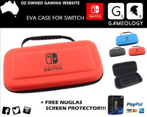 Nintendo Switch EVA Hard Carrying Carry Case Bag  Temp Glass Screen Protector