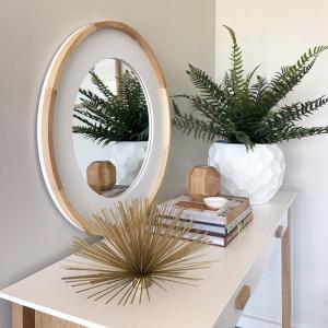 Oak Wood Round Wall Mirror