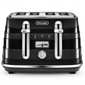 DeLonghi Avvolta Black Four Slice Toaster