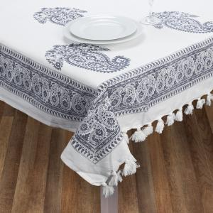 Cloth and Co Paisley Blue Tablecloth 280x150cm
