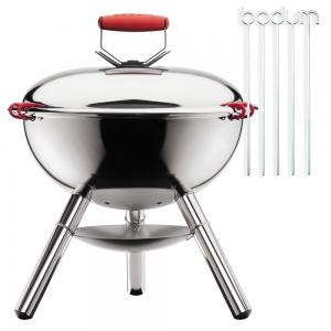 Bodum Fyrkat Picnic Charcoal Grill Shiny with Skewers
