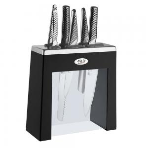 Global Kabuto black 7 piece knife block set