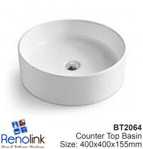 400x400x155mm ROUND BATHROOM VANITY CERAMIC COUNTER TOP WASH BASIN BOWL BT2064
