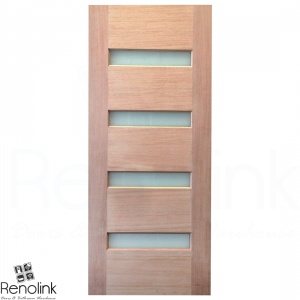 820x2040x40mm Entrance Solid Timber Veneer External Front Entry Door Glass 030