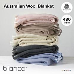 Australian Washable Wool Blanket 480gsm BIANC